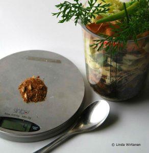 1 matsked Bio Bokashi väger cirka 4 gram